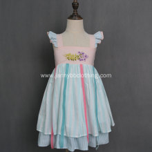 Boutique clothing wholesale  flower embroidery stripe dress